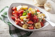 Calabrese tomato and potato salad loaded full of basil! Check it out on Fornetto. http://fornetto.com/blog/salad-compilations-part-1/