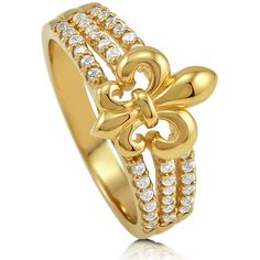 BERRICLE BERRICLE Gold Plated Sterling Silver 0.36 ct.tw CZ Fleur De... ($59) ❤ liked on Polyvore featuring jewelry, rings, clear, women's accessories, statement rings, sterling silver rings, cubic zirconia cocktail rings, fleur de lis ring y cubic zirconia rings