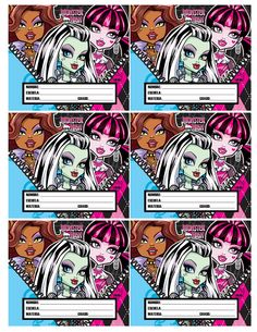 Etiquetas Escolares Monster High