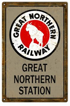 Great Northern Railway Railroad Sign, Aged Style Aluminum Metal Sign, USA Made Vintage Style Retro Garage Art by HomeDecorGarageArt on Etsy Train Posters, Railway Posters, Great Northern Railroad, Northern Line, Vintage Style, Vintage Fashion, Vintage Metal Signs, Train Pictures, Garage Art