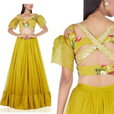 Summer calls for Bright colors and Sexy cuts ! Featuring our harness back lehenga set in mustard ! Blouse Back Neck Designs, Sari Blouse Designs, Fancy Blouse Designs, Lehenga Designs, Blouse Patterns, Stylish Blouse Design, Indian Designer Outfits, Necklines For Dresses, Traditional Outfits