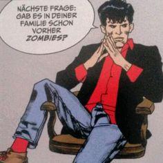 Liege krank im Bett und Dylan Dog stellt unangenehme Fragen. :O Ich bin kein Zombie, du Mango! Mango, Memes, Instagram Posts, Black People, Bed, Manga, Meme