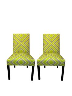 Beyond 50% OFF Sole Designs Straight Back Pair of Dining Chairs, Nouveau Wassabi