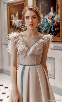 """Aurora Couture 2019 Wedding Dresses — """"Russian Glory"""" Bridal Collection - - aurora couture 2019 bridal cap sleeves fringe v neck bustier simple romantic ivory a line wedding dress zv — Aurora Couture 2019 Wedding Dresses Couture Dresses, Bridal Dresses, Fashion Dresses, Prom Dresses, Dress Wedding, Bridesmaid Dresses, Bustiers, Lovely Dresses, Designer Wedding Dresses"""