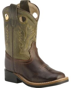 Faded Glory NWT Square Toe Childrens Western Boots Brown 2,3,4,5,6,8,9,10,12,13