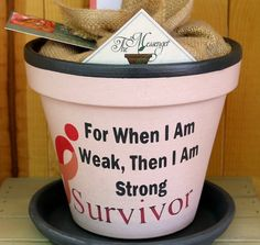 Breast Cancer GiftPainted Flower Pot with RibbonIn Memory