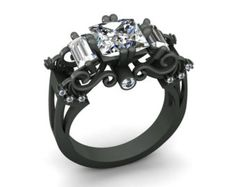 14k Black Gold Elegant Wedding or Engagement Set with an by VOLISA