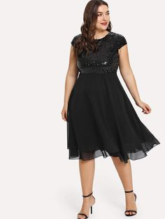 4323201a11e Plus Size Party Dress With Sequin Bodice