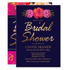 Tropical Gold Floral Bridal Shower Invitations