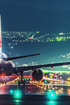 Airport lights at night.