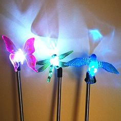 Sogrand 3pcsPack Solar Lights OutdoorDragonflyButterfly and Hummingbird on Stainless Steel StakeSolar Garden LightsSolar Lightfor LawnPatioYardWalkwayDrivewayPathway >>> Read more  at the image link.