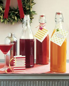 Spread cheer with batches of homemade cocktail mixers for Bloody Marys, Cranberry Cocktails, and Apricot-Ginger Fizzes.