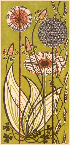 """Dandelions"" - a linocut print by Angie Lewin http://www.angielewin.co.uk/collections/sold-out-editions/products/dandelions"