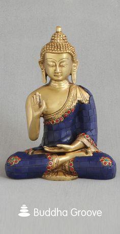 Artistic Mosaic Buddha Statue, Brass