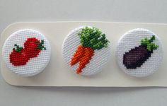 Cross stitch pinback buttons - Fruit family, pack number 2 on Etsy, € Cross Stitch Fruit, Xmas Cross Stitch, Cross Stitch Charts, Cross Stitching, Cute Embroidery, Cross Stitch Embroidery, Cute Patches, Modern Cross Stitch Patterns, Fabric Ribbon