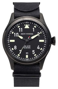 Jack Mason Brand 'Aviation' NATO Strap Watch, 42mm