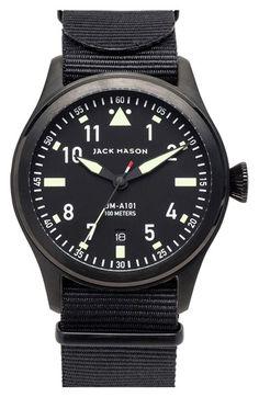 Jack Mason Brand 'Aviation' NATO Strap Watch, 42mm