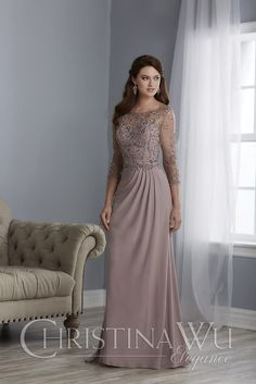 This dress includes an Illusion beaded neckline and bodice, sheer sleeves with embellishment, and a sheath style skirt. Made with a v-back, center zipper, and sweep train.