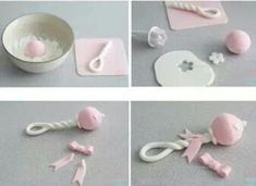 How to make a simple, cute baby rattle using fondant or gum paste.