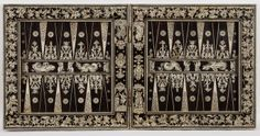 This gamesbox consists of two double-sided boards which provide playing surfaces for backgammon, chess, draughts, and merels, a game of alignment. During the 16th century the cabinet-makers of Augsburg in southern Germany, where this box was probably made, began to specialise in ebony veneers (obtained from Venice or Amsterdam) and engraved bone and ivory.