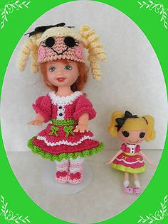 Crochet-Doll-Clothes-Outfit-Black-Bow-Loopsy-for-4-Kelly-same-sized-dolls