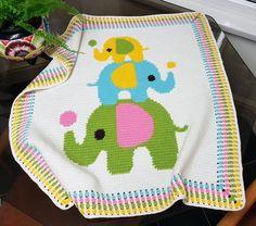 CROCHET Baby Blanket - Three Elephants