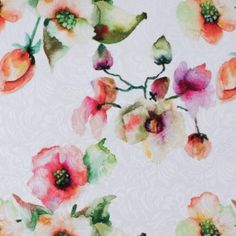 Digitally Printed Watercolor Floral on a Butterfly Jacquard
