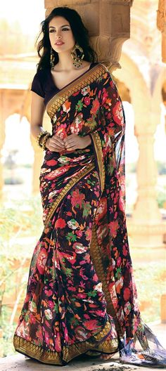 122987: Multicolor color family Saree with matching unstitched blouse.