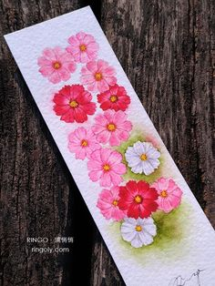 Pink Cosmos Flowers Watercolor Painting Bookmark, Handmade Card (Original), from Taiwan Watercolor Bookmarks, Watercolor Flowers, Watercolor Paper, Watercolor Paintings, Colorful Flowers, Pink Flowers, Calligraphy Letters Alphabet, Cosmos Flowers, Book Markers