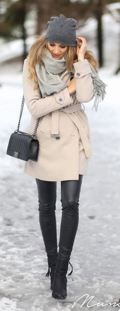 #winter #fashion / cream coat + leather pants