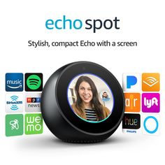 Echo Spot  Black *** Check this awesome product by going to the link at the image. (Note:Amazon affiliate link) Amazon Kindle, Amazon Echo, Off Game, Silly Me, Phone Gadgets, Best Blogs, Alarm Clock, Things To Think About, It Hurts