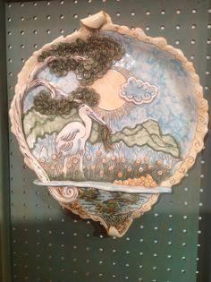 Heron Fishing/wall art/wildlife art/great blue by joycepottery, $225.00
