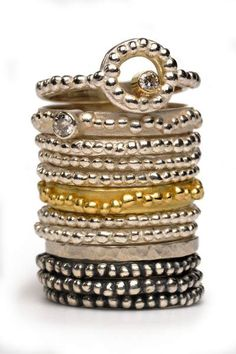 Helen of Troy stack rings silver gold granulation