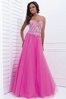 Perfectly Tulle Crystal Beaded Long 2015 Fuschia Prom Dresses