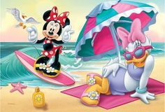 Minnie & Daisy have some fun at the beach Daisy Duck, Daisy Girl, Walt Disney Animation, Disney Girls, Disney Mickey, Minnie Y Daisy, Minnie Mouse Stickers, Duck Wallpaper, Minnie Mouse Pictures