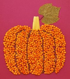 Pumpkin Bean and Seed Craft Fall Crafts For Kids, Thanksgiving Crafts, Toddler Crafts, Preschool Crafts, Diy For Kids, Holiday Crafts, Kids Crafts, Diy And Crafts, Theme Halloween