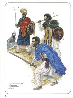 Abyssinian warriors,1868. 1:Commander.2:Chief's retainer.3:Warrior.