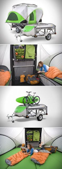 The COOLEST little thing ever. The Go Camper Trailer from Sylvansport: http://go.sylvansport.com