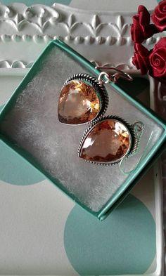 Peach Quartz EarringsCrystal Glass Earrings by happybdaytome