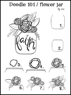 Drawing Doodles Ideas More - Visit the post for more. Scripture Art, Bible Art, Bible Verses, Doodle Drawings, Easy Drawings, Flower Drawings, Bibel Journal, Bible Doodling, Flowers In Jars