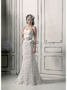 Venice Lace Mermaid Strapless Sweetheart Neckline Wedding Dress