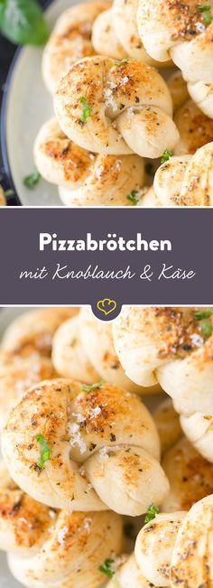 Verknotete Angelegenheit aus dem Ofen: Frischer Hefeteig verwandelt sich in klei… Knotted matter from the oven: Fresh yeast dough turns into small pizza knots with plenty of spicy Parmesan and aromatic garlic. Pizza Recipes, Grilling Recipes, Seafood Recipes, Snack Recipes, Healthy Recipes, Barbecue Recipes, Egg Recipes, Bread Recipes, Pizza Buns