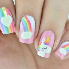 - Nail Art - Awesome unicorn art Perfect for unicorn lovers and put some magic on your day Ma. Awesome Unicorn Art Perfect for Unicorn Lovers and some magic on your day Beautiful Nail Design Perfect for people who love unicorns and to put magic. Trendy Nail Art, Cute Nail Art, Cute Acrylic Nails, Cute Nails, Pretty Nails, Unicorn Nails Designs, Unicorn Nail Art, Little Girl Nails, Girls Nails