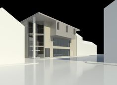 Facade of the building within its context. The change in materials suggests a change in area and the auditorium protrudes to hint at what it might be within.