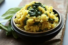 CURRY COCONUT MILK AND SPINACH RISOTTO 2 tablespoons coconut fat (from ...