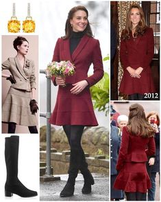 For her first engagement as patron of Action for Children, Kate brought back her gorgeous burgundy Estilo Kate Middleton, Kate Middleton Style, Kate Middleton Prince William, Prince William And Kate, Burgundy Skirt, Royal Look, Victoria, Royal Fashion, Duke And Duchess