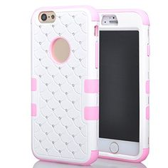 iPhone 6 Case, ROKE Shockproof iPhone 6 Studded Rhinestone Crystal Bling Hybrid Armor Case Cover for Apple iPhone 6(4.7 Inch) - Pink/White ROKE http://www.amazon.com/dp/B00T39CYY4/ref=cm_sw_r_pi_dp_rZJFvb11HCXF7