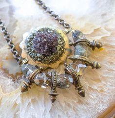 Tribal Fusion Necklace, Zinder Cross, Amethyst Necklace, Boho Mystic Necklace, Belly Dance Necklace, Phantom Quartz Necklace, Altar Necklace