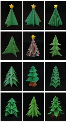 Let's Make DIY Origami Christmas Decorations Together! - Let's Make DIY Origami Christmas Decorations Together! Let's Make DIY Origami Christmas Decorations Together! Diy Origami, Origami Tree, Origami Christmas Tree, How To Make Origami, Origami Design, Paper Crafts Origami, Christmas Paper, Christmas Tree Decorations, Christmas Trees