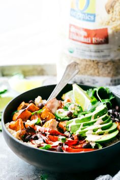 SWEET POTATO BURRITO BOWL! A delicious and simple to make veggie burrito bowl -- brown rice, seasoned & roasted sweet potatoes + bell peppers, black beans, and avocado with the most incredible chipotle lime sauce. via chelseasmessyapron.com
